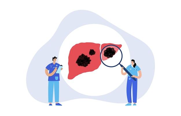 肝臓がんのロゴ。人間の消化器系における病原体の病気と腫瘍。