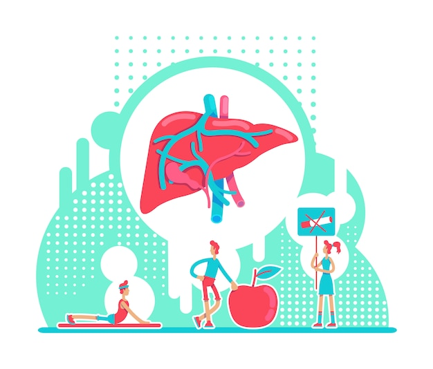간 건강 관리 평면 개념 그림입니다. 내부 장기를 보호하는 나쁜 습관을 피하십시오. 건강한 라이프 스타일 2d 만화 캐릭터