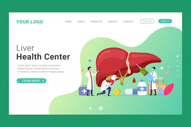 Liver health center landing page template