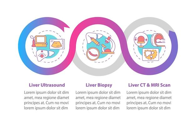 Liver testing infographic template. organ ultrasound, mri scan presentation design elements.