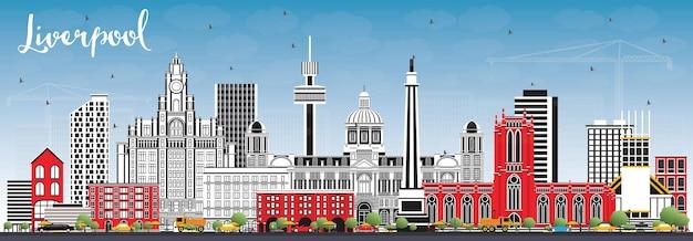 색상 건물과 푸른 하늘이 있는 리버풀 스카이라인. 벡터 일러스트 레이 션. 역사적인 건축과 비즈니스 여행 및 관광 개념입니다. 랜드마크가 있는 리버풀 도시 풍경.