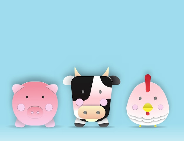 Livestock animal paper art with 3d layer space for some word vector and illustration set