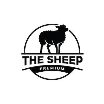 Livestock sheep farm premium black logo