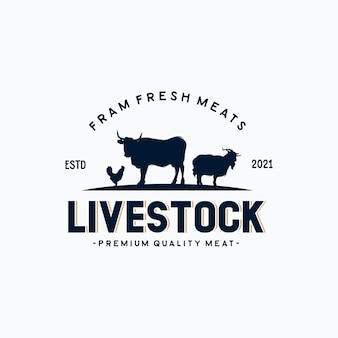Livestock vintage logo with cow, chicken, and goat