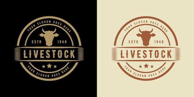 Livestock vintage logo with cow suitable for cow chicken meat steak and animal farm
