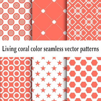 Living coral color seamless patterns. set of abstract backgrounds. living coral color