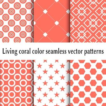 Живые коралловые цвета бесшовные модели. набор абстрактных фонов. живой коралловый цвет