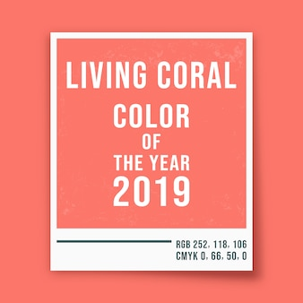 Living coral - color of the year 2019 - photo frame background. vector illustration.