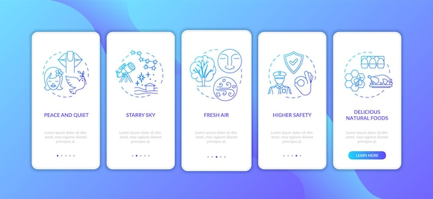 Living on farm onboarding mobile app page screen with concepts. suburb life. village lifestyle advantages walkthrough 5 steps graphic instructions. ui vector template with rgb color illustrations