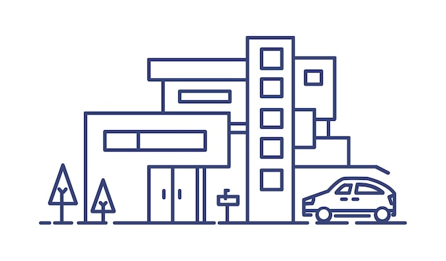 Жилой дом, построенный в современном архитектурном стиле, и припаркованный автомобиль, нарисованный синими линиями на белом фоне. жилая недвижимость или недвижимость. монохромный векторные иллюстрации.
