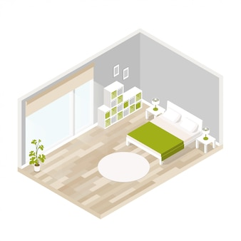 Жилой интерьер для гостиной в изометрии