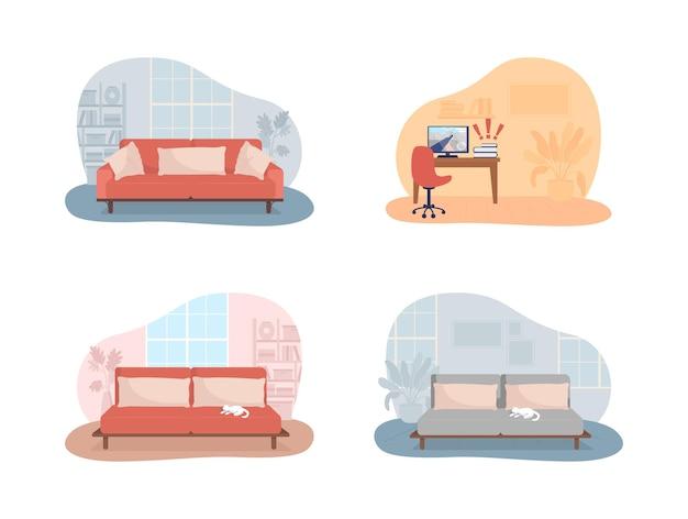 거실과 침실 2d 벡터 격리 된 그림입니다. 쿠션이 있는 소파. 컴퓨터 화면이 있는 책상. 라이프 스타일과 생활. 만화 배경에 아늑한 아파트 평면 인테리어입니다. 홈 화려한 장면
