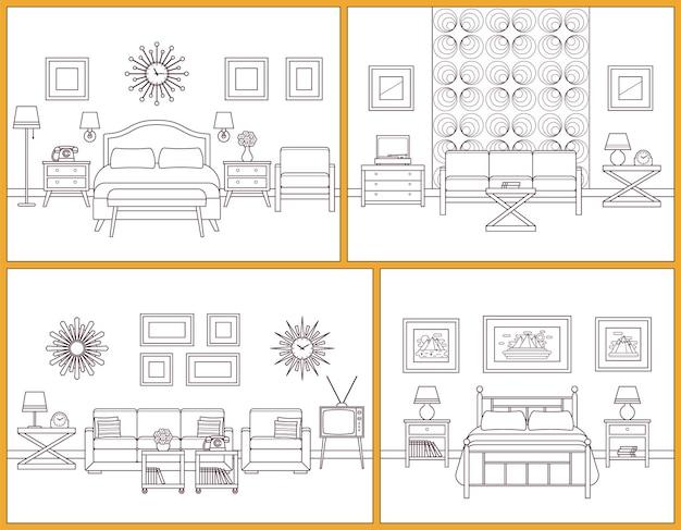거실과 침실 인테리어입니다. 가구가 있는 선형 객실입니다. 레트로 하우스 장면입니다. 플랫 라인 아트 디자인
