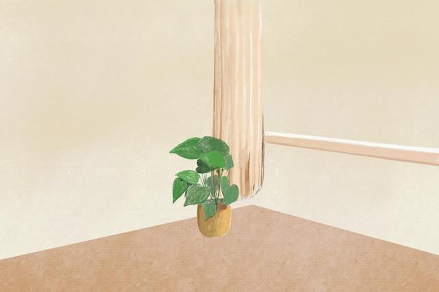リビングルームの背景色鉛筆イラスト