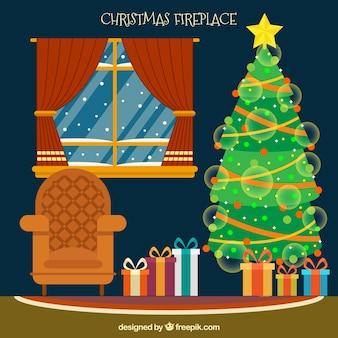 クリスマスツリーとリビングルームの背景