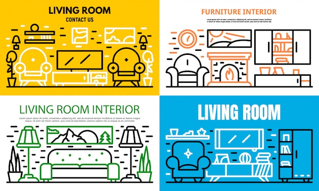 Living room banner set, outline style