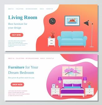 Living room, bedroom furniture. illustration. banner concept.