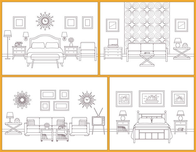 Living room and bedroom interiors. linear rooms with furniture. retro house scene. flat line art design