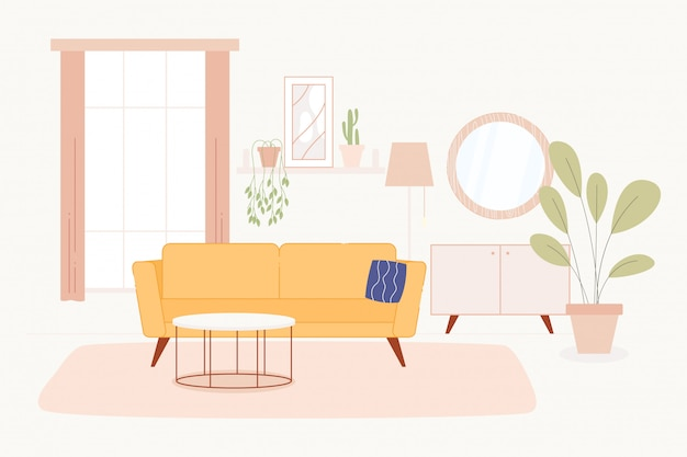 Living room in bright and light colors