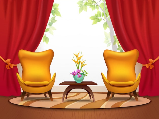 Living room cartoon interior illustration