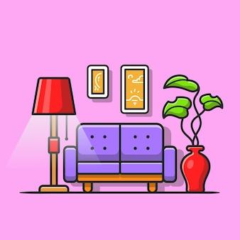 リビングルーム漫画ベクトルアイコンイラスト。インテリアオブジェクトアイコンの概念分離プレミアムベクトル。フラット漫画スタイル