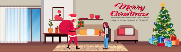 Living room in christmas banner with santa claus