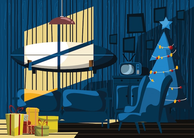 Living room in christmas day vector illustration