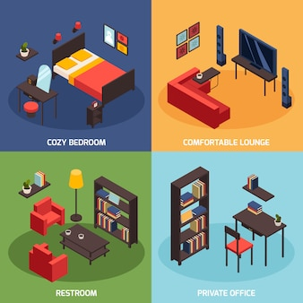 Living room concept icons set