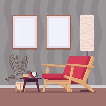 リビングルームの居心地の良いインテリアとデザイン