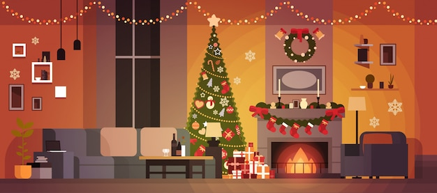 Living room decorated for christmas and new year with fir tree