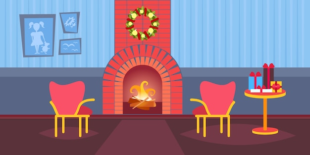 Living room decorated merry christmas happy new year fireplace home interior decoration winter holiday  flat