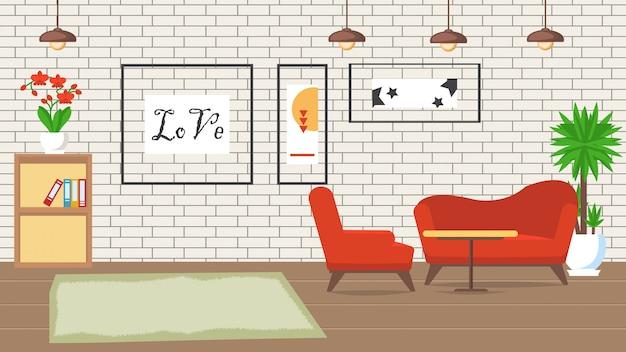 Living room design flat vector illustration.