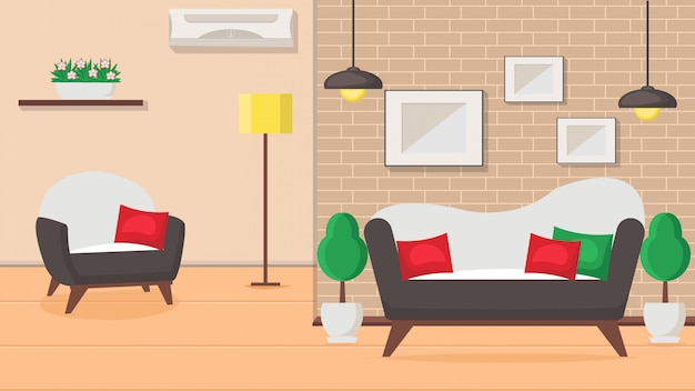 Living room design flat vector illustration.
