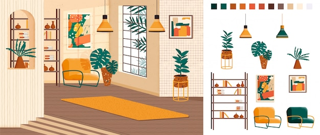 Living room full home interior design, creation kit, lounge set with furniture in trendy mid-century style, different constructor elements to build own image scene. flat colorful    .