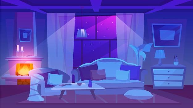 夜景イラストを備えたリビングルーム。クラシックなスタイルの住居インテリア。スタイリッシュなキャンドルで飾られた漫画の暖炉。床にクッション付きのソファとアームチェア
