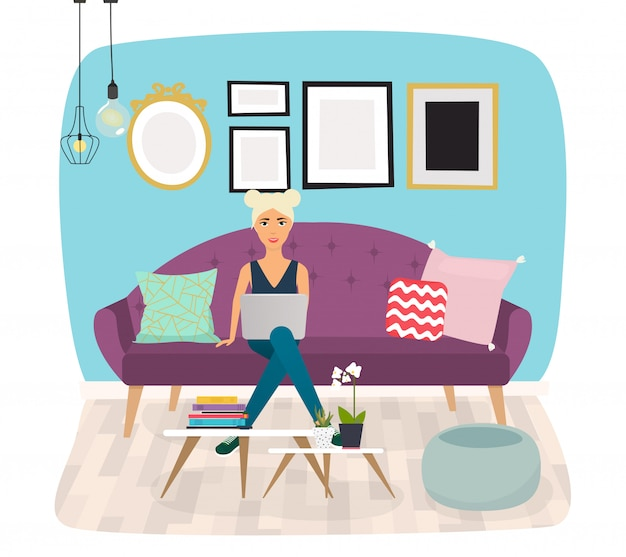 거실. 소파, 러브 시트, 안락 의자, 커피 테이블, 사이드 테이블 및 홈 장식을 포함한 가구 및 홈 액세서리.