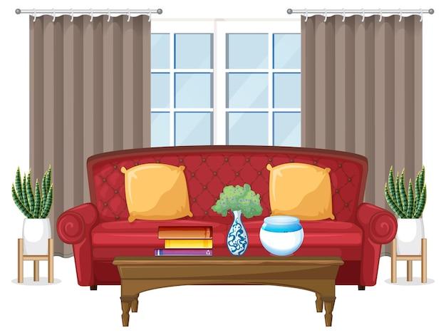 Design di mobili per soggiorno su sfondo bianco