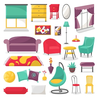 Living room furniture and home interior decor illustration isolated set.