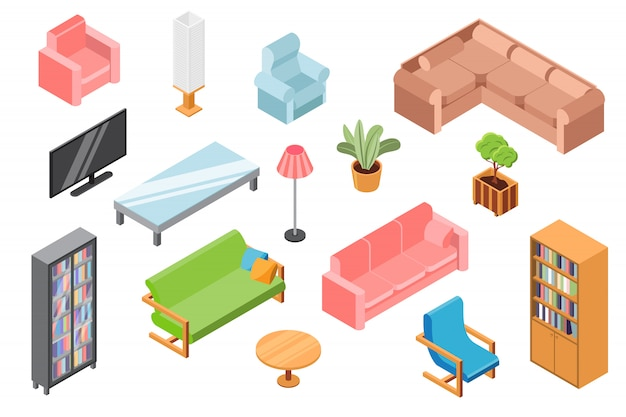 Living room furniture, illustration, isometric constructor of 3d furniture and accessories isolated on white, lounge interior design.