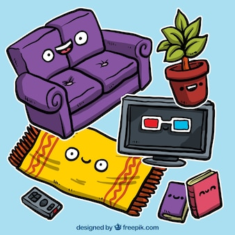 Living room furniture illustration