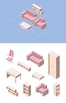 Living room furniture isometric set. pink folding sofa computer chair, transformer chair wardrobe shoe desk drawers bookshelves coffee table modern graphic design living room.