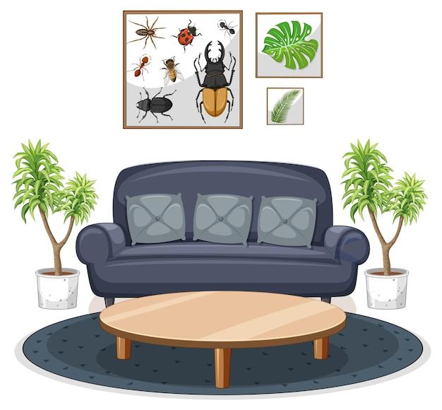 Living room furniture set on white background