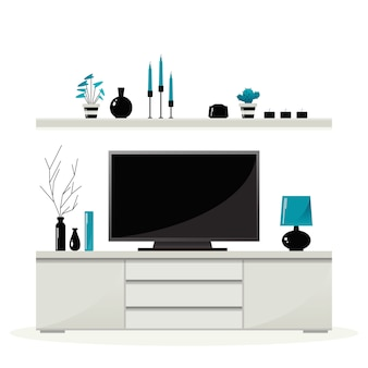 Living room furniture. shelf with decorations above the curbstone with tv.