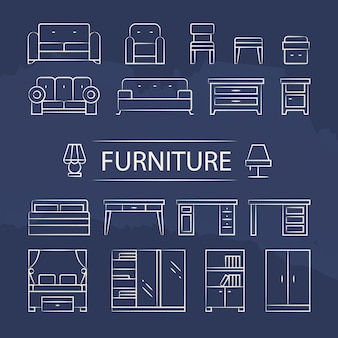 Living room furniture and table lamps line icons set