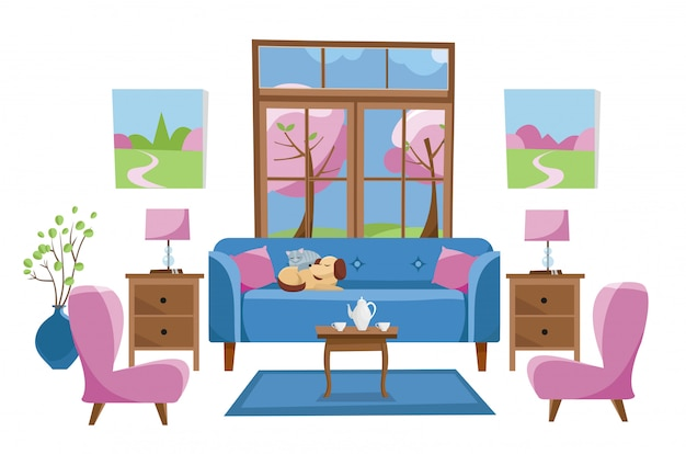 Living room furniture on white background. blue sofa with table in room with large window. outside spring trees.