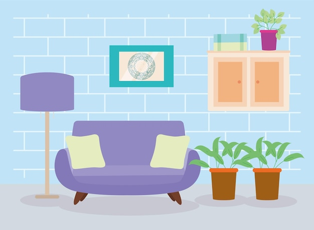 Living room home decoration scene
