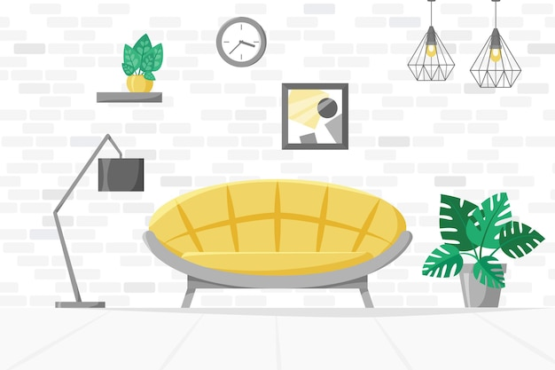 Living room home illustration with sofa lamp house plants in pots modern interior vector Premium Vector