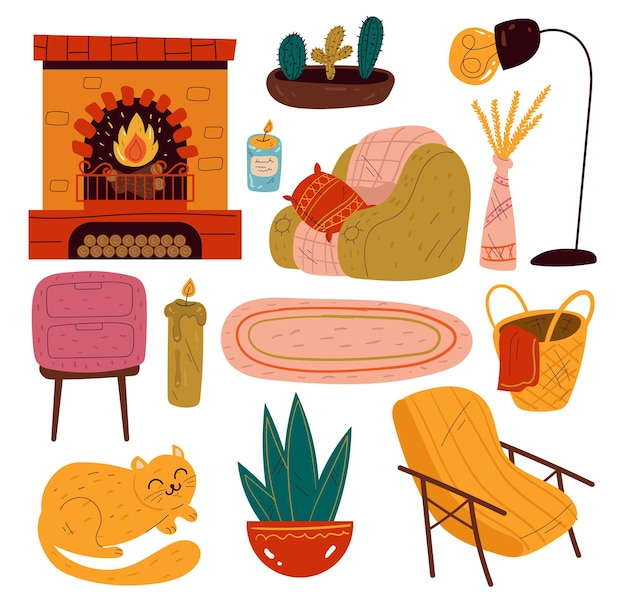 リビングルームホームインテリア家具分離セットグラフィックデザインコレクション
