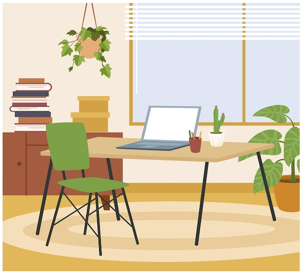 Living room home interior, workplace vector illustration. cartoon hygge workspace with table, chair, laptop for freelance work, stylish comfy furniture and comfortable home decoration background