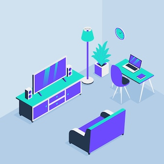 Living room home office with sofa tv and workspace with isometric style